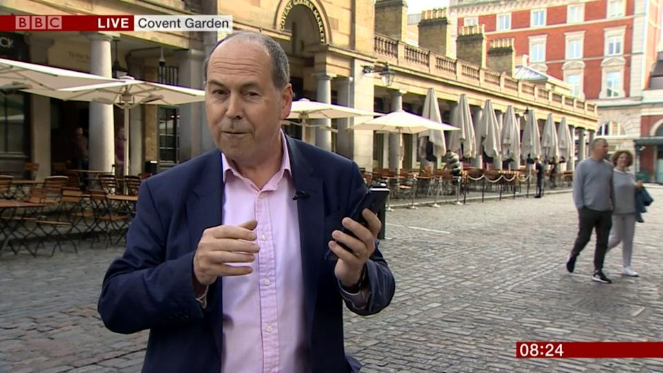 Viewers noticed Rory Cellan-Jones' hand was shaking during a broadcast about 5G internet connectivity. (Credit: BBC)