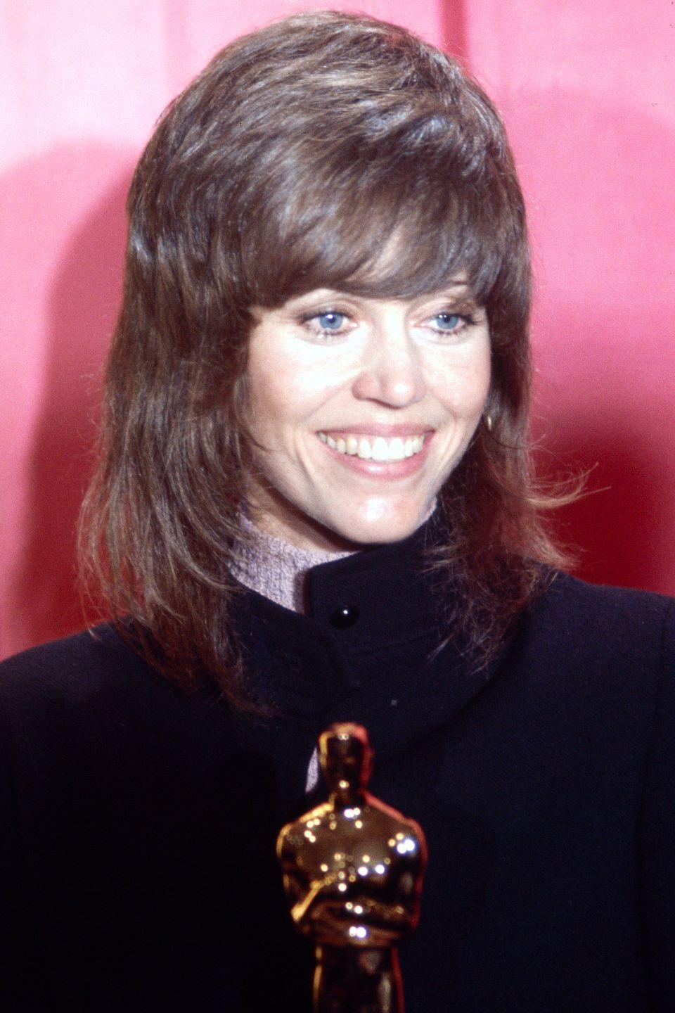 """<p>""""I had my husband's barber, Paul McGregor, cut my hair because I didn't want to have to deal with the blonde Barbarella mane as an activist. I kept the look for <em>Klute</em>. I didn't realize this haircut was going to be so iconic—I just thought, 'I can handle this on the front lines.'""""</p>"""