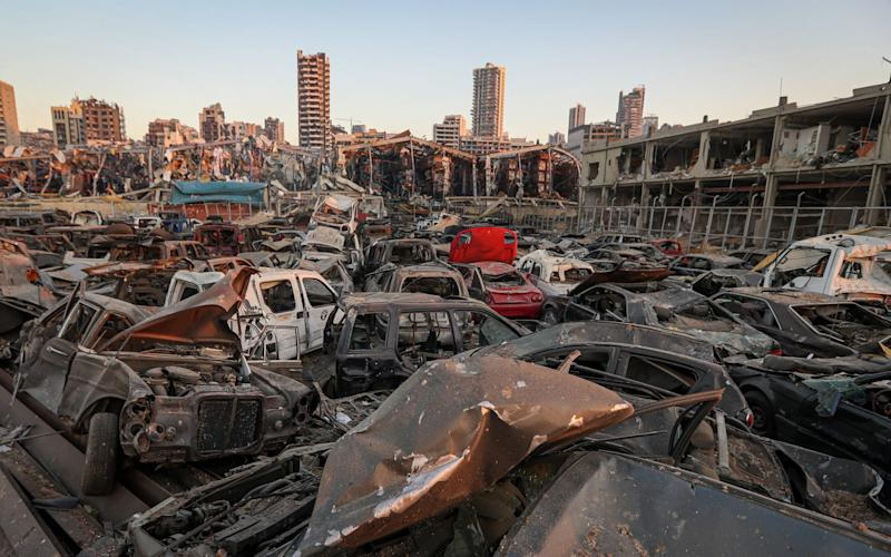 Vehicles destroyed by the blast in Beirut