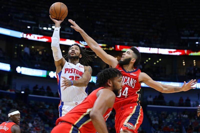 Thanks to a 17-point fourth quarter, and a clutch shot at the buzzer, Derrick Rose led the Pistons past the Pelicans on Monday night. (Jonathan Bachman/Getty Images)