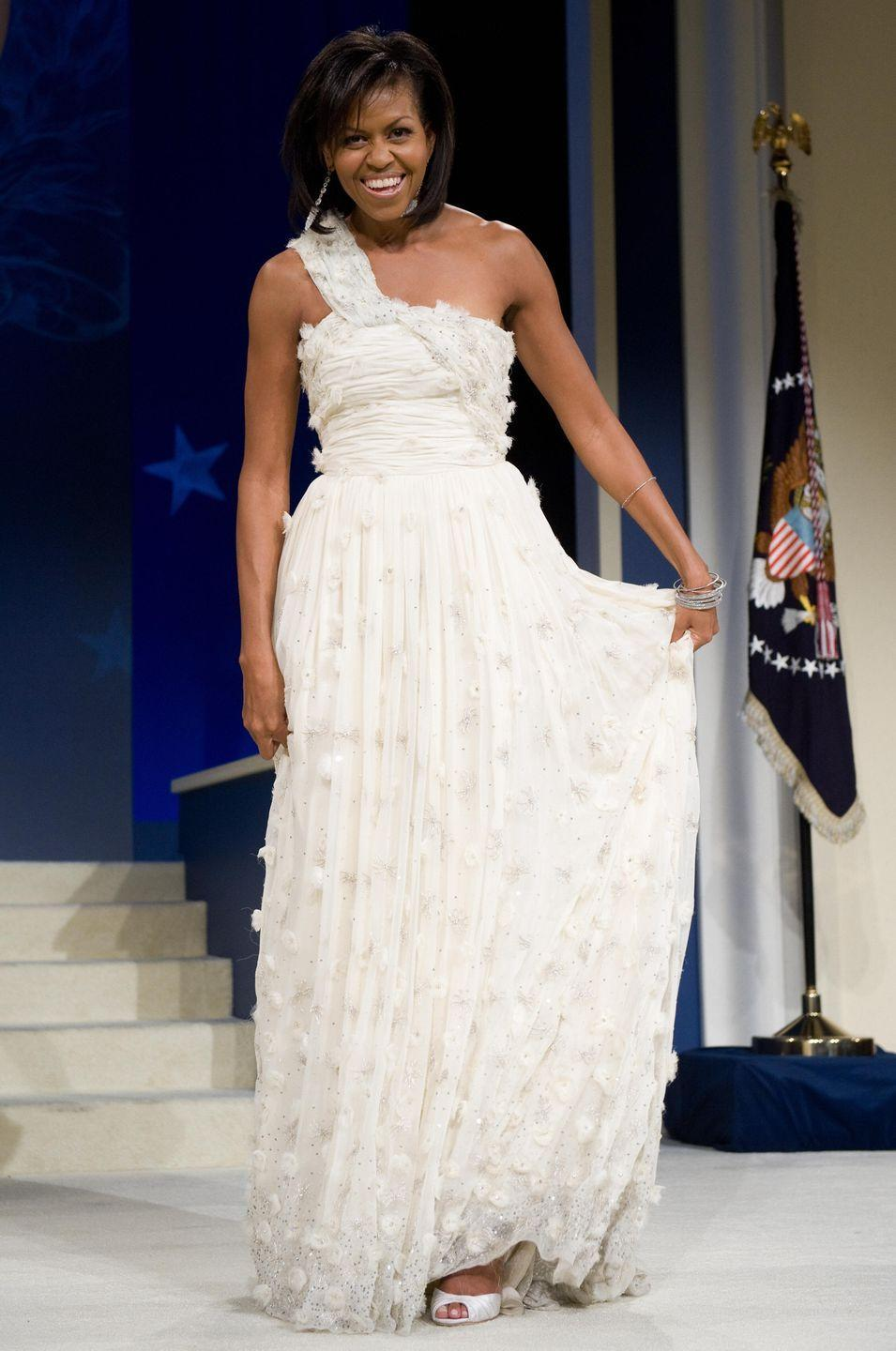 """<p>Considering the attention their outfits get, many first ladies enlist designers and stylists to help them dress for high-profile events. Melania Trump has worked with consultant <a href=""""https://www.nytimes.com/2017/01/25/fashion/melania-trump-inauguration-gown-designer-herve-pierre.html?mcubz=1"""" rel=""""nofollow noopener"""" target=""""_blank"""" data-ylk=""""slk:Hervé Pierre"""" class=""""link rapid-noclick-resp"""">Hervé Pierre</a>, while Michelle Obama used stylist <a href=""""https://www.townandcountrymag.com/style/fashion-trends/a25174575/michelle-obama-fashion-stylist-meredith-koop/"""" rel=""""nofollow noopener"""" target=""""_blank"""" data-ylk=""""slk:Meredith Koop"""" class=""""link rapid-noclick-resp"""">Meredith Koop</a>. Before her, Laura Bush worked with fashion designer <a href=""""https://www.nbcdfw.com/news/local/dallas-fashion-designer-to-first-lady-laura-bush-give-nod-to-new-first-lady-fashion/28813/"""" rel=""""nofollow noopener"""" target=""""_blank"""" data-ylk=""""slk:Michael Faircloth"""" class=""""link rapid-noclick-resp"""">Michael Faircloth</a>.</p>"""