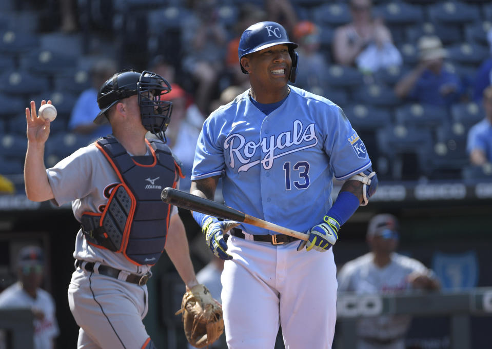 Kansas City Royals' Salvador Perez reacts after striking out to end the baseball game against the Detroit Tigers, in Kansas City, Mo., Wednesday, June 16, 2021. (AP Photo/Reed Hoffmann)