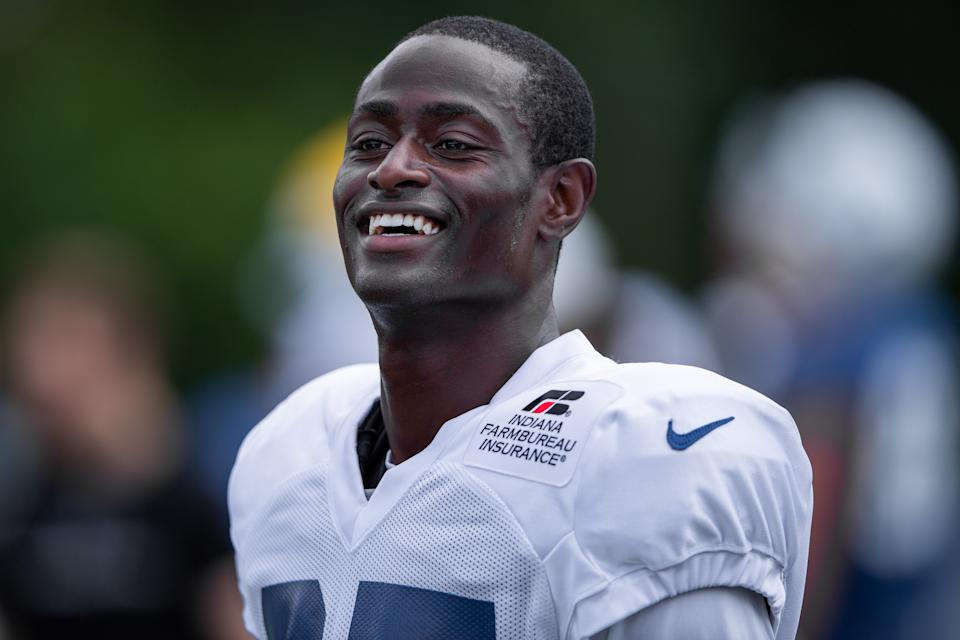 WESTFIELD, IN - JULY 28: Indianapolis Colts cornerback Pierre Desir (35) runs through a drill during the Indianapolis Colts training camp practice on July 28, 2019 at the Grand Park Sports Campus in Westfield, IN. (Photo by Zach Bolinger/Icon Sportswire via Getty Images)