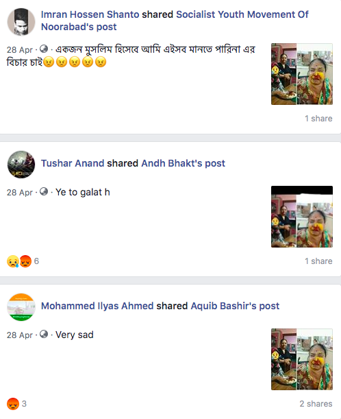 "The posts can be seen <a href=""https://www.facebook.com/search/top/?q=RSS%20goons%20has%20attacked%20Hindu%20woman%20"" rel=""nofollow noopener"" target=""_blank"" data-ylk=""slk:here"" class=""link rapid-noclick-resp"">here</a>."