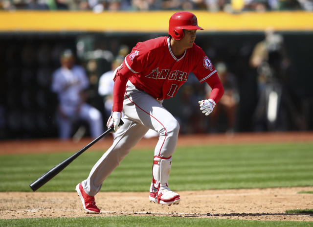 In front of his parents, Shohei Ohtani made his MLB debut for the Los Angeles Angels Thursday as a designated hitter. (AP)