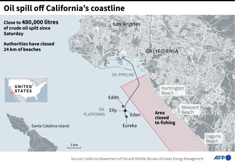 Map of south of Los Angeles in California, showing offshore oil platforms and the area closed to fishing after oil spill (AFP/Patricio ARANA)