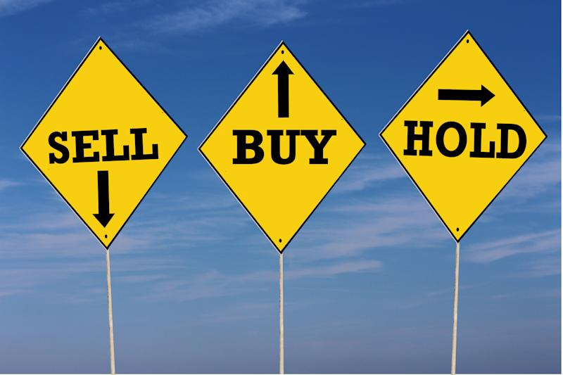 Yellow steet signs with the words buy sell and hold.