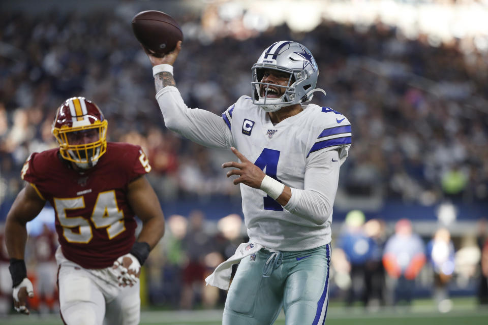 Dallas Cowboys quarterback Dak Prescott (4) is still unsigned for 2020 and beyond. (AP Photo/Ron Jenkins)