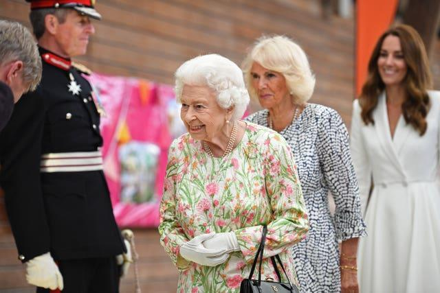 The Queen, the Duchess of Cornwall and the Duchess of Cambridge attend an event at the Eden Project in celebration of The Big Lunch initiative during the G7 summit in Cornwall