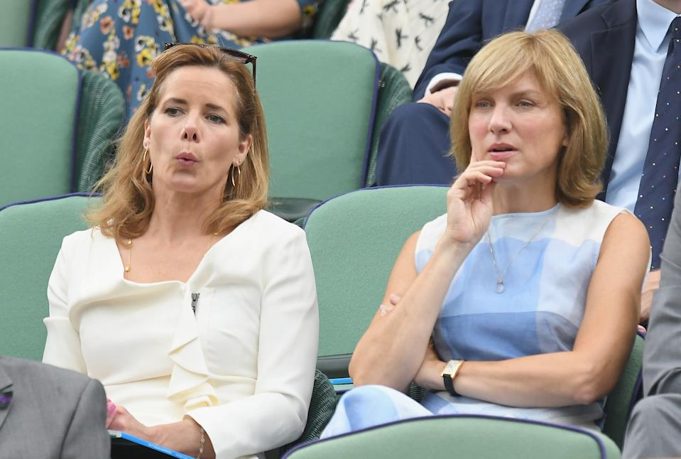 LONDON, ENGLAND - JULY 11:  Darcey Bussell and Fiona Bruce attend day eight of the Wimbledon Tennis Championships at the All England Lawn Tennis and Croquet Club on July 11, 2017 in London, United Kingdom.  (Photo by Karwai Tang/WireImage)