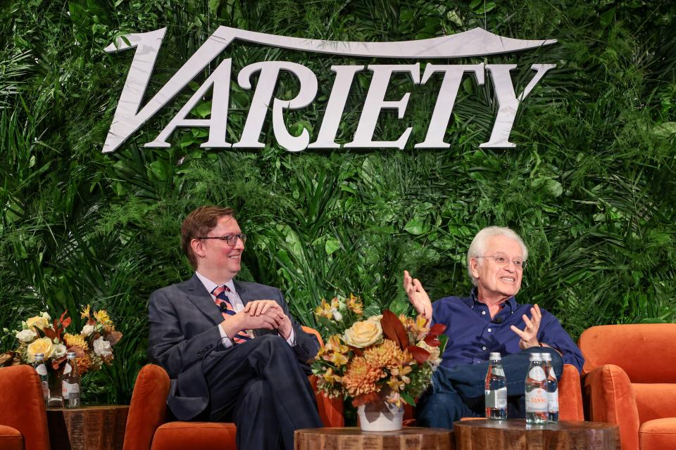 NEW YORK, NEW YORK - OCTOBER 12: Brett Lang and Jerry Zaks speak onstage during Variety LEGIT!: Return to Broadway presented by City National Bank at Second on October 12, 2021 in New York City. (Photo by Dimitrios Kambouris/Getty Images for Variety)