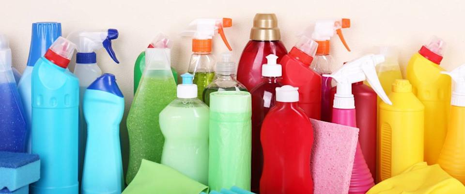 Cleaning products on shelf