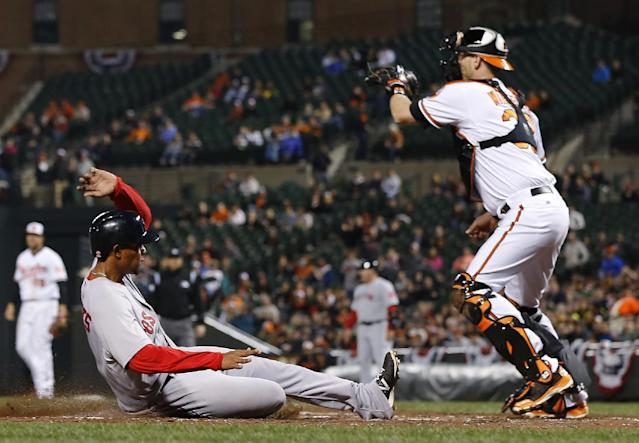 Boston Red Sox's Xander Bogaerts, left, slides into home plate past Baltimore Orioles catcher Matt Wieters, right, for a run on a single by David Ross in the fourth inning of a baseball game on Thursday, April 3, 2014, in Baltimore. (AP Photo/Patrick Semansky)