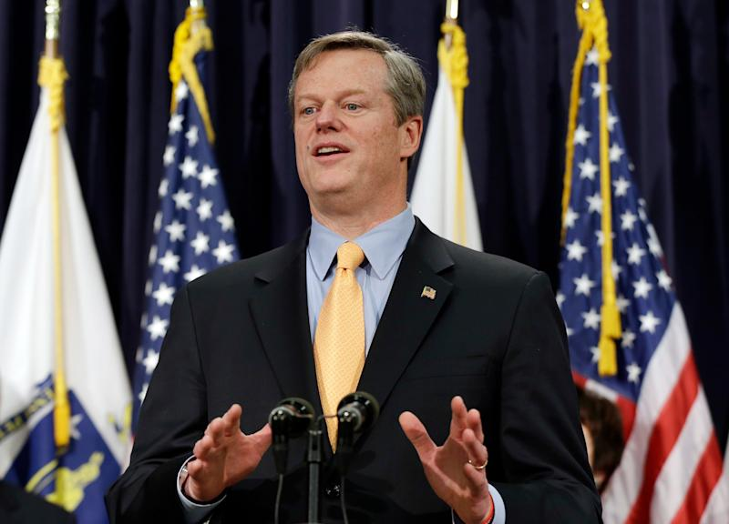 Massachusetts Gov. Charlie Baker speaks to reporters