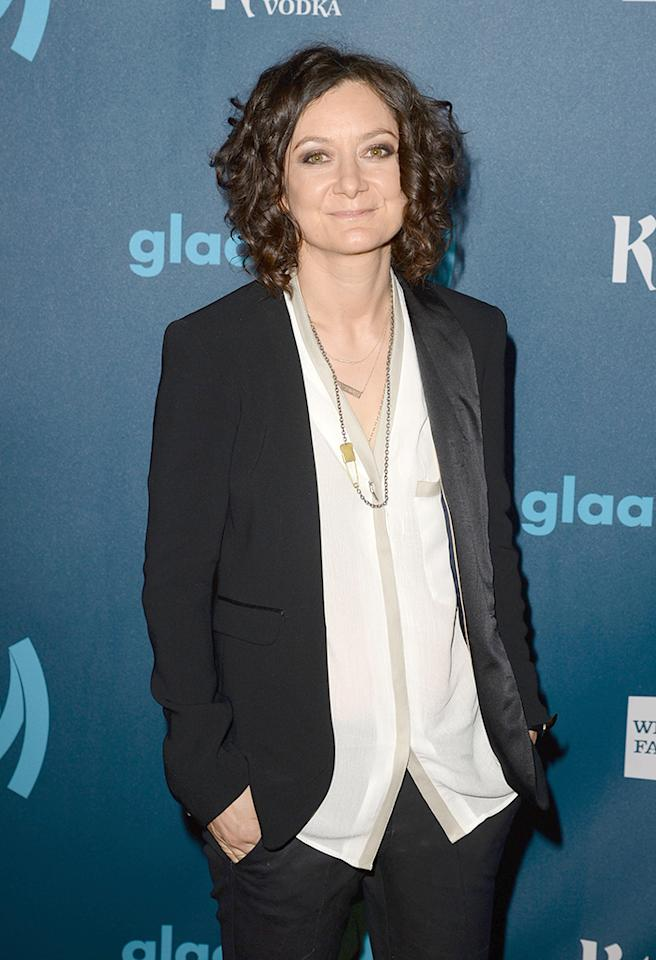 LOS ANGELES, CA - APRIL 20:  TV personality Sara Gilbert arrives at the 24th Annual GLAAD Media Awards presented by Ketel One and Wells Fargo at JW Marriott Los Angeles at L.A. LIVE on April 20, 2013 in Los Angeles, California.  (Photo by Jason Merritt/Getty Images for GLAAD)