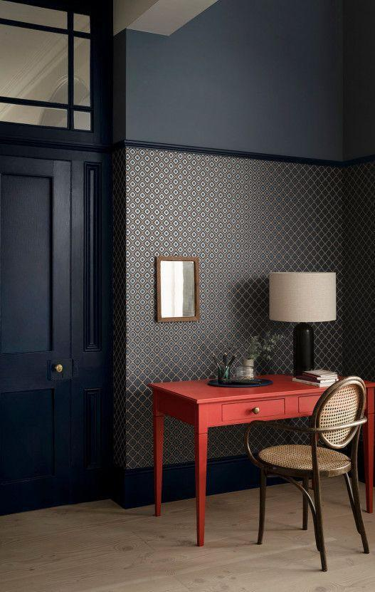 """<p>Traditionally, when panelling is present in a room, wallpaper is hung above and extends to the ceiling. Here, Paint & Paper Library flips the rule, and wallpapers three quarters of the height of a room. This creates a clever zoning effect to highlight your favourite pieces of furniture. </p><p>Pictured: <a href=""""https://www.paintandpaperlibrary.com/catalog/product/view/id/41680/category/187/"""" rel=""""nofollow noopener"""" target=""""_blank"""" data-ylk=""""slk:Quatrefoil"""" class=""""link rapid-noclick-resp"""">Quatrefoil</a>, Paint & Paper Library</p>"""