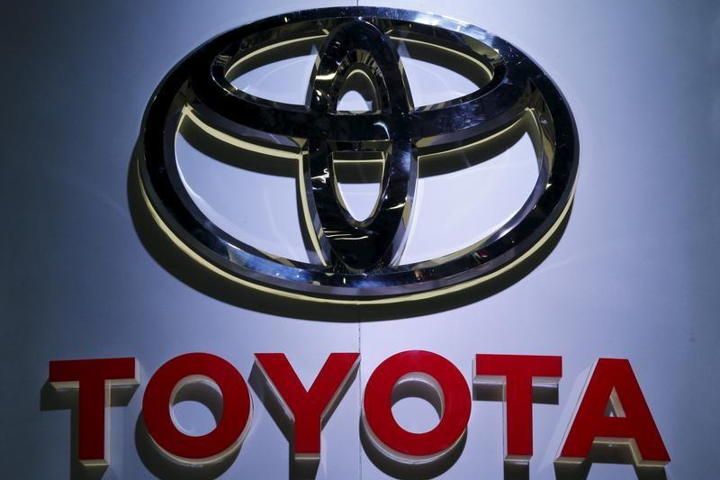 The logo of Toyota is pictured at at the 37th Bangkok International Motor Show in Bangkok