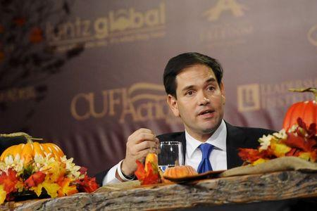 Republican U.S. presidential candidate Rubio speaks at the Presidential Family Forum in Des Moines, Iowa