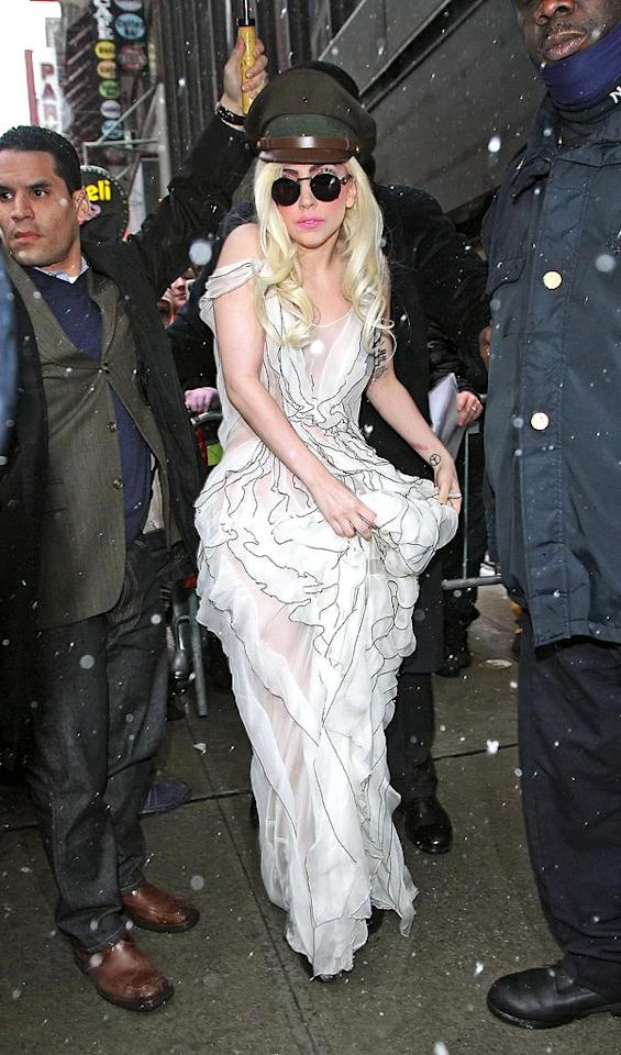 "We're so not ga-ga over Lady Gaga's latest garish getup, are you? Jackson Lee/<a href=""http://www.splashnewsonline.com"" target=""new"">Splash News</a> - February 10, 2010"
