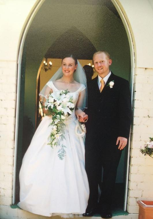 Here Connie is pictured with her husband Mike on their wedding day. The couple have two children together. Source: Love Your Sister Facebook