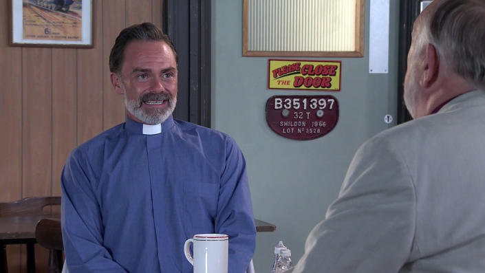 FROM ITV  STRICT EMBARGO - No Use before Tuesday 13th July 2021  Coronation Street - Ep 10380  Monday 19th July 2021 - 1st Ep  Billy Mayhew [DANIEL BROCKLEBANK] meets up with the bishop and to Todd GrimshawÕs [GARETH PIERCE] horror, tells him he realises he isnÕt up to the job and would like to resign from archdeacon.  Picture contact David.crook@itv.com   This photograph is (C) ITV Plc and can only be reproduced for editorial purposes directly in connection with the programme or event mentioned above, or ITV plc. Once made available by ITV plc Picture Desk, this photograph can be reproduced once only up until the transmission [TX] date and no reproduction fee will be charged. Any subsequent usage may incur a fee. This photograph must not be manipulated [excluding basic cropping] in a manner which alters the visual appearance of the person photographed deemed detrimental or inappropriate by ITV plc Picture Desk. This photograph must not be syndicated to any other company, publication or website, or permanently archived, without the express written permission of ITV Picture Desk. Full Terms and conditions are available on  www.itv.com/presscentre/itvpictures/terms