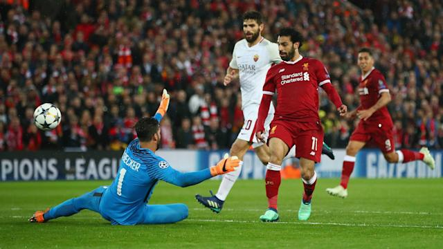 Mohamed Salah earned a place in Liverpool's European history with a sparkling first-half display against Roma.