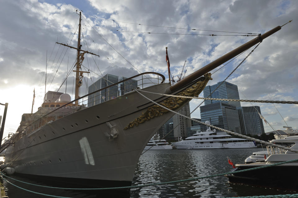LONDON, ENGLAND - JULY 28:  The Danish Royal Yacht Dannenbrog is pictured moored at West India Dock  for a reception for businesses on the at Canary Wharf on July 28, 2012 in London, England.  (Photo by Martin McNeil/Getty Images)