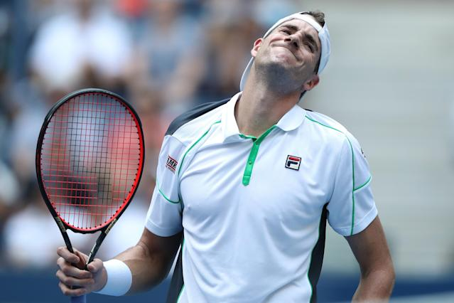 "John Isner, the last American man left competing at the U.S. Open, was defeated by <a class=""link rapid-noclick-resp"" href=""/olympics/rio-2016/a/1100647/"" data-ylk=""slk:Juan Martín del Potro"">Juan Martín del Potro</a> on Tuesday. (Photo by Elsa/Getty Images)"
