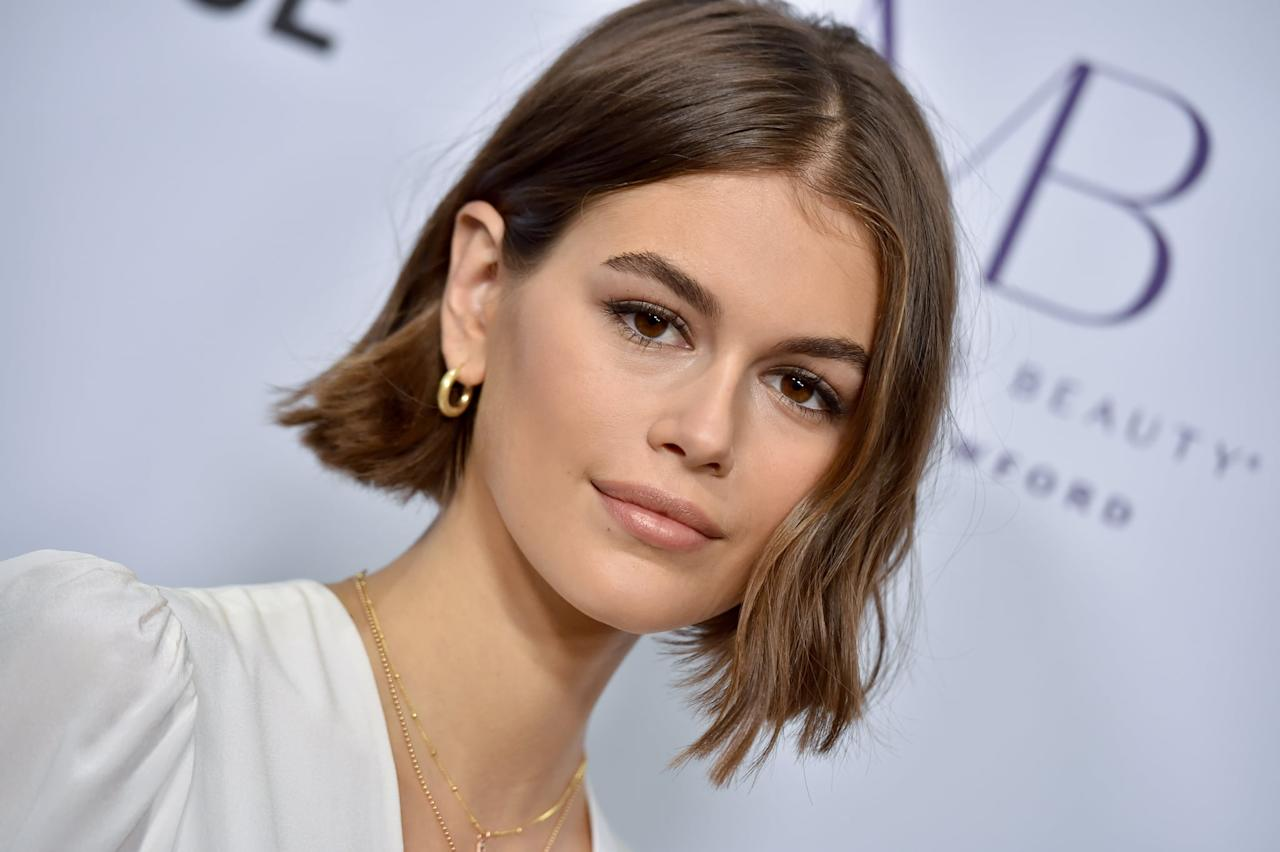 <p>Gerber opted for a wavy short bob and fresh, dewy skin.</p>