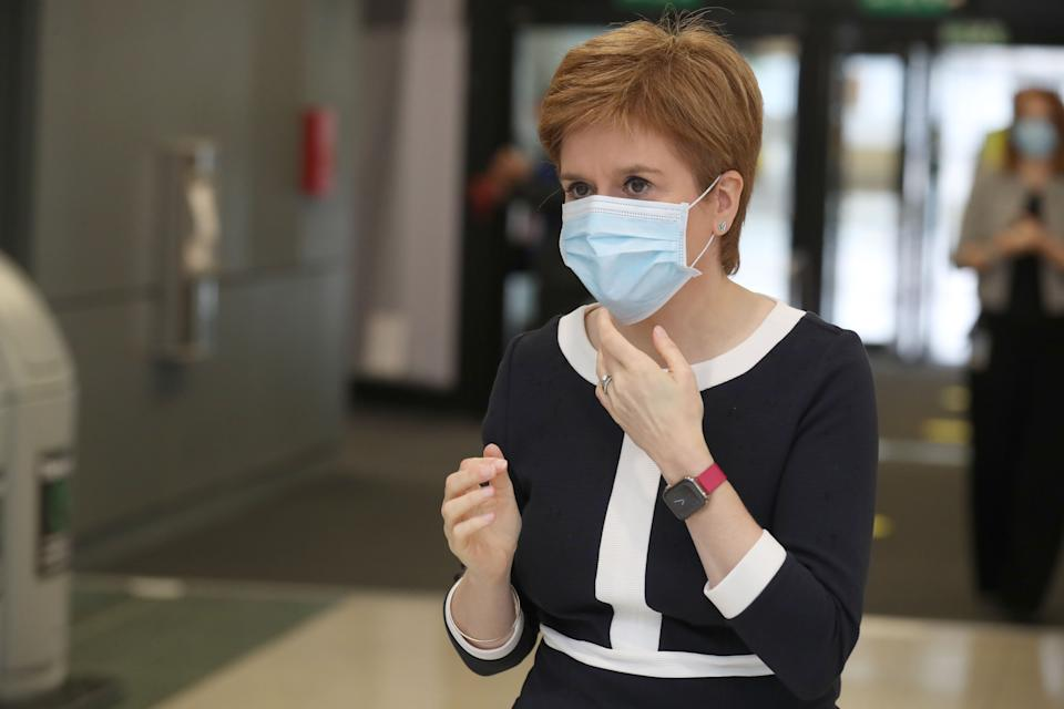 GLASGOW, SCOTLAND - JULY 27: First Minister, Nicola Sturgeon during a visit to the NHS Louisa Jordan at the SEC, Glasgow, to learn about the venue being adapted for treating outpatients on July 27, 2020 in Glasgow, Scotland. (Photo by Andrew Milligan - WPA Pool/Getty Images)