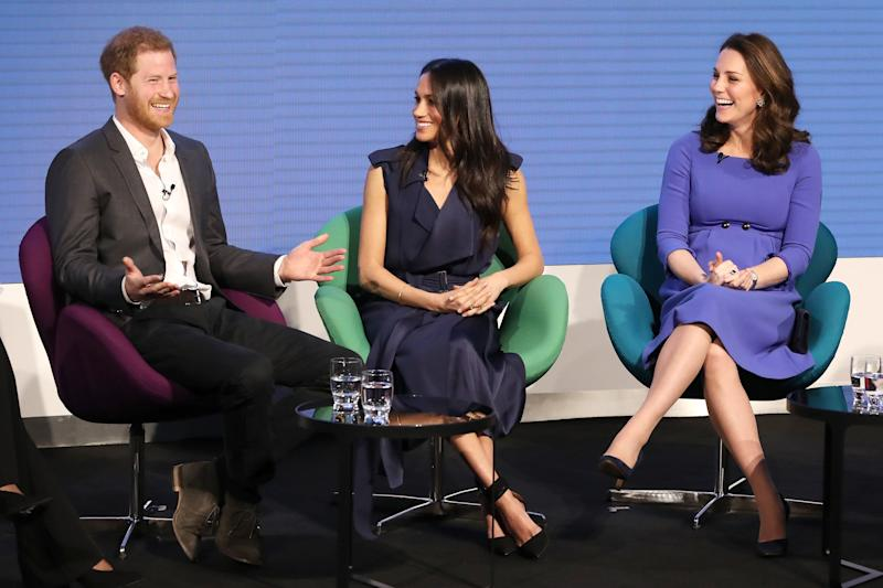 Prince Harry, Meghan Markle and Catherine, Duchess of Cambridge attend the first annual Royal Foundation Forum on February 28, 2018 in London. (Photo: Chris Jackson/AFP/Getty Images)