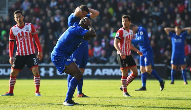 <p>Leicester skipper Wes Morgan misses a guilt-edged opportunity to get the Foxes back into the game </p>