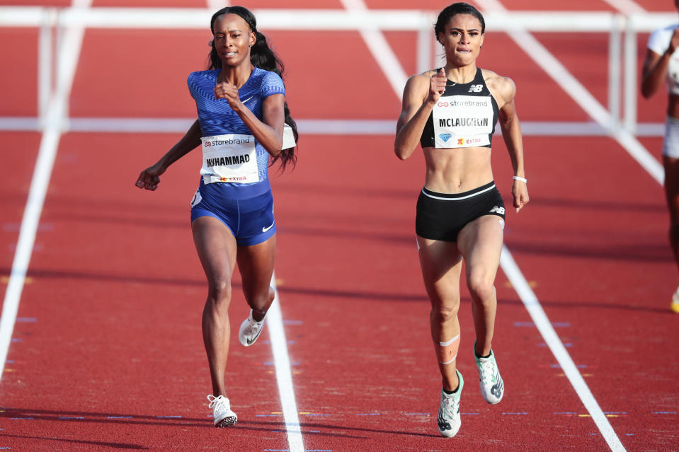 FILE - Dalilah Muhammad, left, and Sydney McLaughlin, both of the United States, compete in the women's 400m hurdles event during the IAAF Diamond League at Bislett Stadium in Oslo, Norway, in this Thursday, June 13, 2019, file photo. McLaughlin went on to take first place. The most anticipated race of the U.S. track and field trials may be the women's 400 hurdles, where world record holder Dalilah Muhammad tries to hold off the up-and-comer Sydney McLaughlin. (Lise Aserud/NTB scanpix via AP, File)