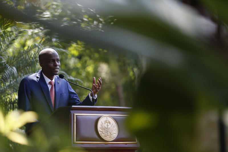 FILE - In this Oct. 15, 2019 file photo, President Jovenel Moïse speaks during a press conference at the National Palace in Port-au-Prince, Haiti.  Moïse said during a radio interview on Monday, Oct. 28, 2019, that he has asked the U.S. government for humanitarian assistance as protesters demanding his resignation took to the streets in the seventh week of demonstrations that have shuttered many schools and businesses across the country. (AP Photo/Rebecca Blackwell, File)