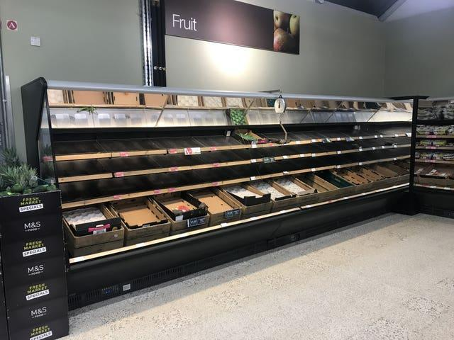 Empty fresh fruit shelves