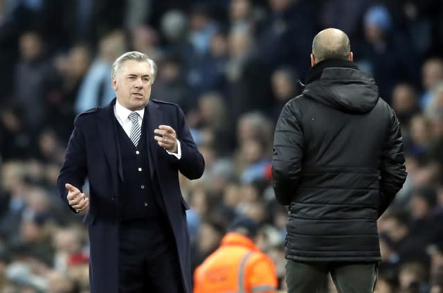 Carlo Ancelotti suffered his first defeat as Everton boss at Manchester City (Martin Rickett/PA)
