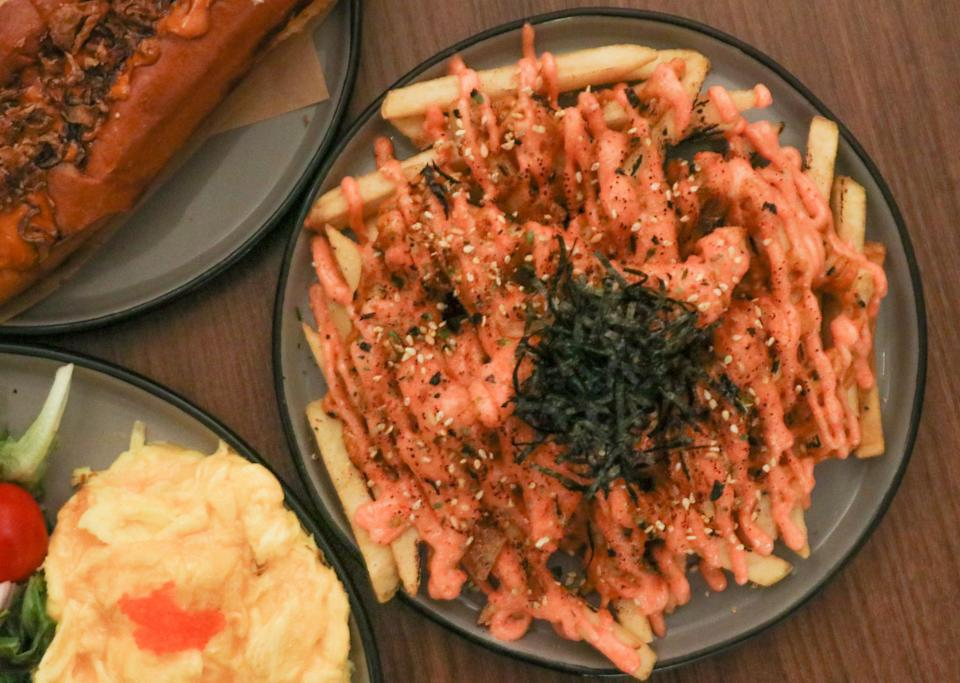a flatlay of spicy mentaiko fries