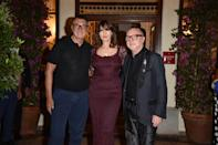 TAORMINA, ITALY - JULY 18: Stefano Gabbana, Monica Bellucci and Domenico Dolce attend the red carpet of the closing night of the Taormina Film Festival on July 18, 2020 in Taormina, Italy. (Photo by Tullio Puglia/Getty Images)