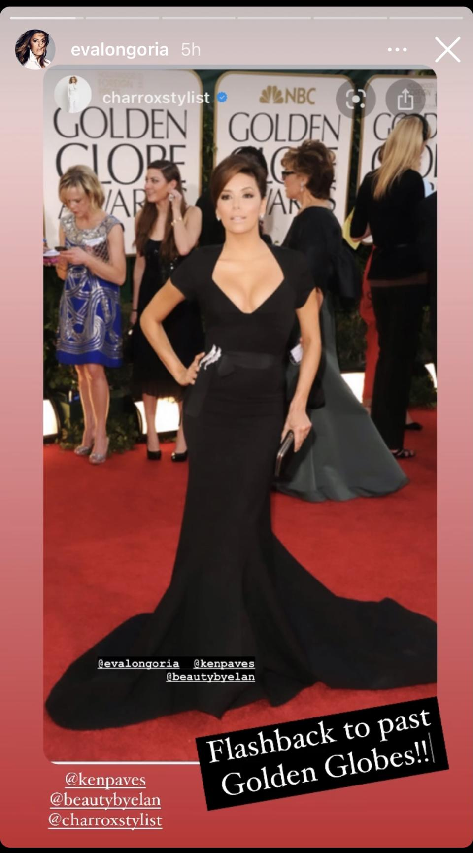 "<p>Kicking off her trip down memory lane, Longoria flashed back to her appearance at the 2011 Golden Globes. For the event, the former ""Desperate Housewives"" star stunned in a plunging Zac Posen gown with a sweetheart neckline and open back. Image via Instagram/EvaLongoria.</p>"