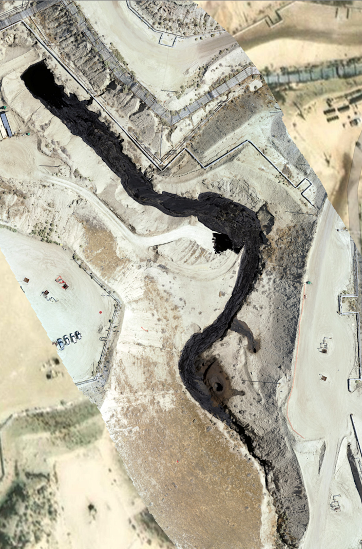 Aerial view of river of oil spills across the Cymric field near McKittrick, California, in June 2019.