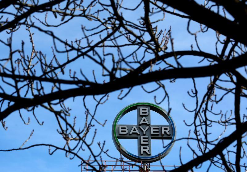 The logo of Bayer AG is pictured at the Bayer Healthcare subgroup production plant in Wuppertal