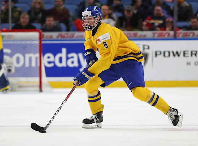 Rasmus Dahlin is very likely to hear his name called first at the 2018 NHL Draft. (Getty Images)