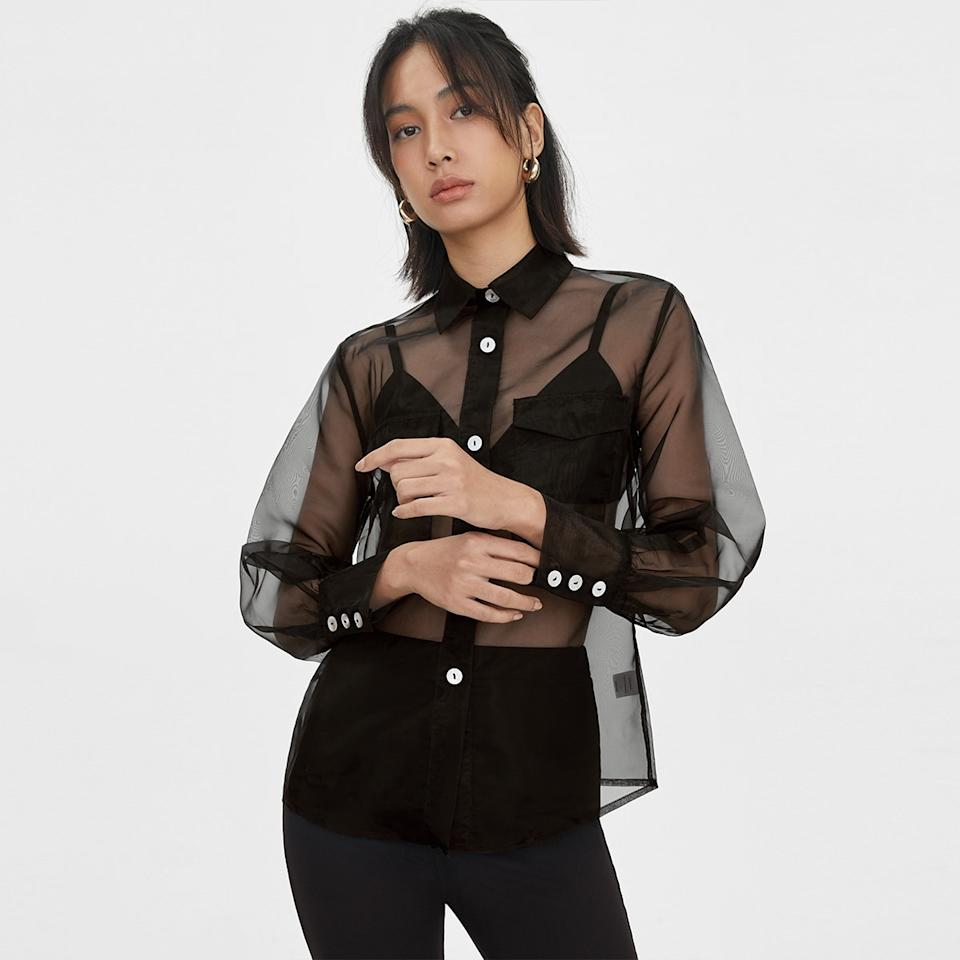 Sheer Buttoned Down Top - Black