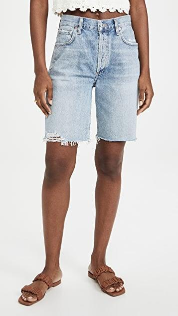 <p>We were hesitant about this length but it's all about balance. These <span>Citizens of Humanity Ambrosio Shorts</span> ($158) have a longer hem length that looks great with crop tops.</p>