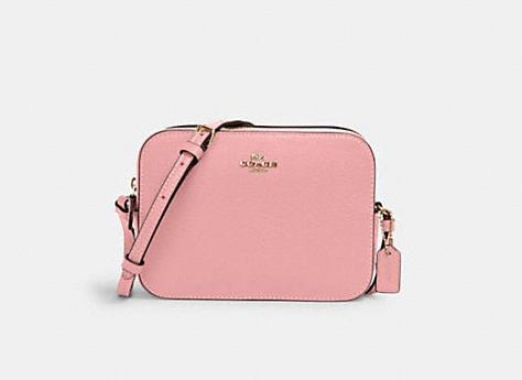 Product photo of rectangular Mini Camera Bag in light pink. Image via Coach Outlet.