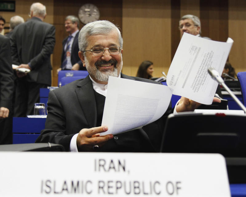 FILE - In this Nov. 18, 2011 file photo Iran's Ambassador to the International Atomic Energy Agency, IAEA, Ali Asghar Soltanieh waits for the start of the IAEA board of governors meeting at the International Center, in Vienna, Austria.  The U.N. nuclear agency says Iran has rapidly ramped up production of higher-grade enriched uranium over the last four months.  Its confidential report feeds concerns about how quickly the Islamic Republic could produce an atomic bomb. Friday's Feb. 24, 2012  report by the International Atomic Energy Agency also said that Iran had failed to give a convincing explanation about a quantity of missing uranium metal. Diplomats have said the missing amount could be used for experiments used to arm a warhead. (AP Photo/Ronald Zak, File)