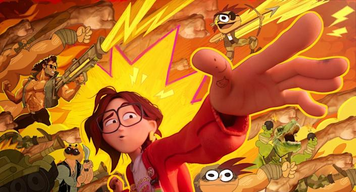 Animation of a girl reaching out with one hand, surrounded by cartoon figures and lightning bolts.