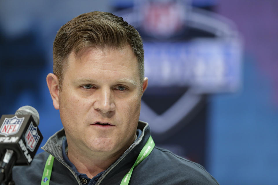 Green Bay Packers general manager Brian Gutekunst speaks during a press conference at the NFL football scouting combine in Indianapolis. The Packers would love to give quarterback Aaron Rodgers more weapons as they attempt to make at least one more Super Bowl run with the 36-year-old, two-time MVP. That doesn't necessarily mean you should pencil in a receiver to Green Bay with the 30th overall pick in the NFL Draft. (AP Photo/Michael Conroy, File)
