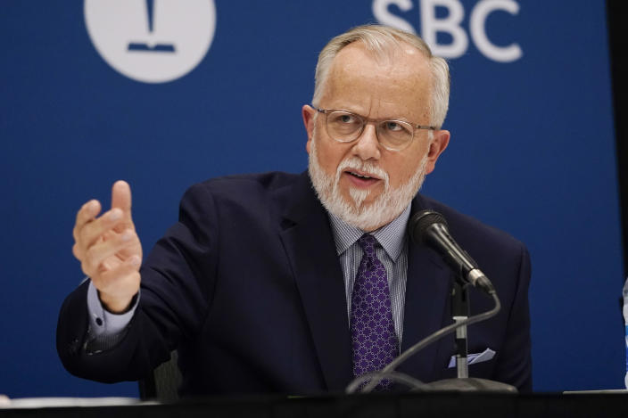 Pastor Ed Litton, of Saraland, Ala., answers questions after being elected as president of the Southern Baptist Convention Tuesday, June 15, 2021, in Nashville, Tenn. (AP Photo/Mark Humphrey)