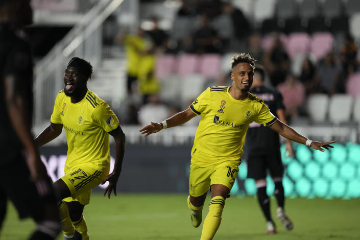 Nashville midfielder Hany Mukhtar celebrates scoring a goal against Inter Miami during the first half of an MLS soccer match, Wednesday, Sept. 22, 2021, in Fort Lauderdale, Fla. (AP Photo/Rebecca Blackwell)